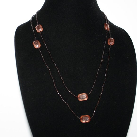 "Vintagejelyfish Jewelry - 48"" long dark brown and pink rose necklace"